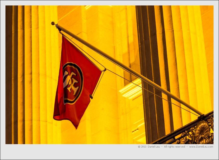 SF 49ers flag at City Hall