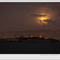 Cloudy full moon over Alcatraz – San Francisco