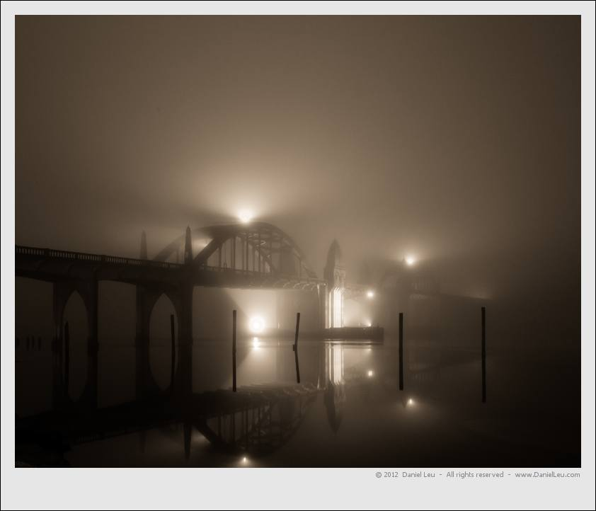 Siuslaw River Bridge with Fog