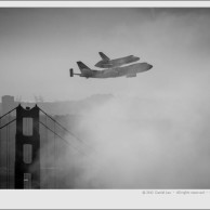 Space Shuttle Endeavour over SF with Golden Gate Bridge Tower