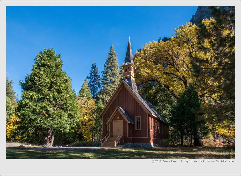 Yosemite Valley chapel with fall colors
