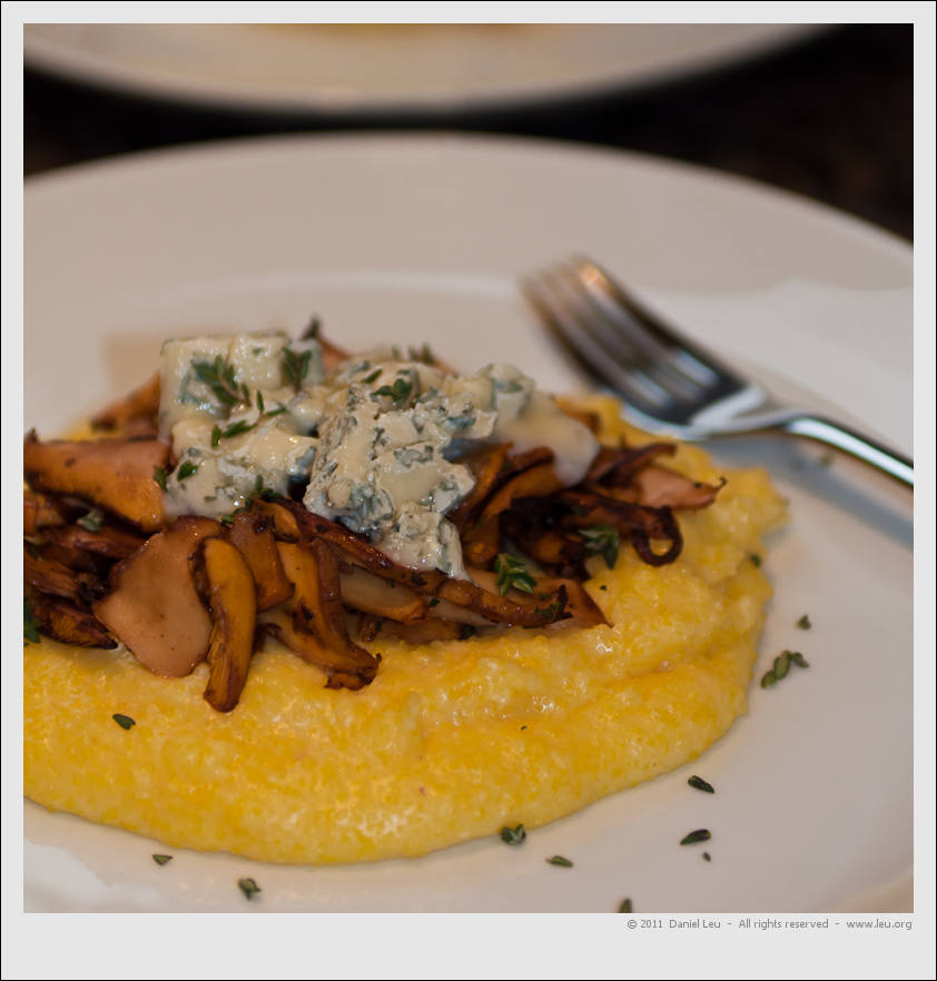Seared Chanterelle with Polenta and Blue Cheese