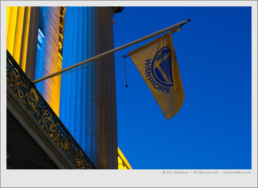 The Golden State Warriors flag flies on San Francisco's City Hall to celebrate the Warriors post-season run.