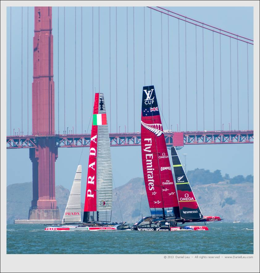 America's Cup training session with Emirates Team New Zealand and Luna Rossa in the San Francisco bay.