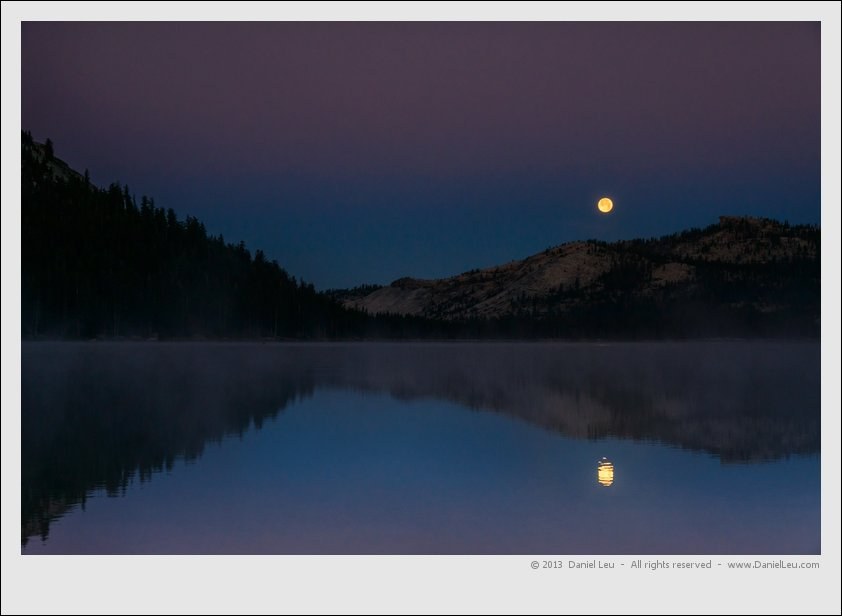 Supermoon setting over Tenaya Lake
