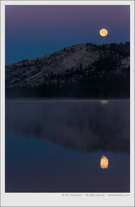 Tenaya Lake with setting supermoon