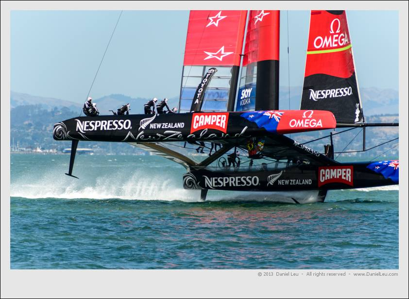 Emirates Team New Zealand preparing to jibe