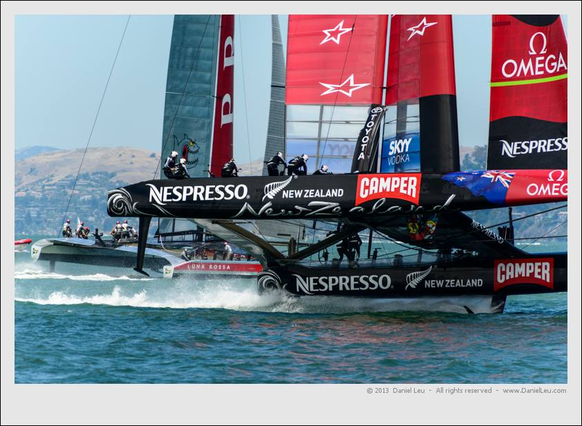 Emirates Team New Zealand crossing Luna Rossa