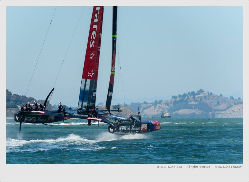 Emirates Team New Zealand starting to take-off after a jibe