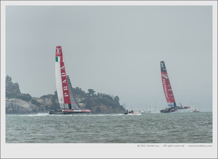 ETNZ and LR downwind on leg 4 in front of Alcatraz