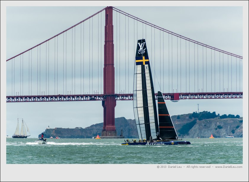 Artemis' AC72 in front of Golden Gate Bridge tower
