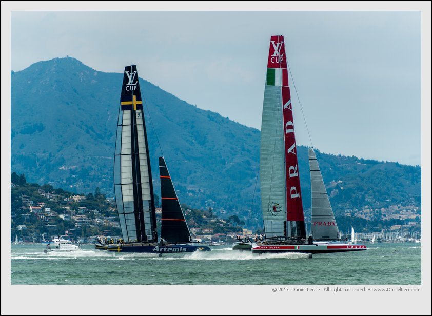 Luna Rossa and Artemis foiling towards Alcatraz