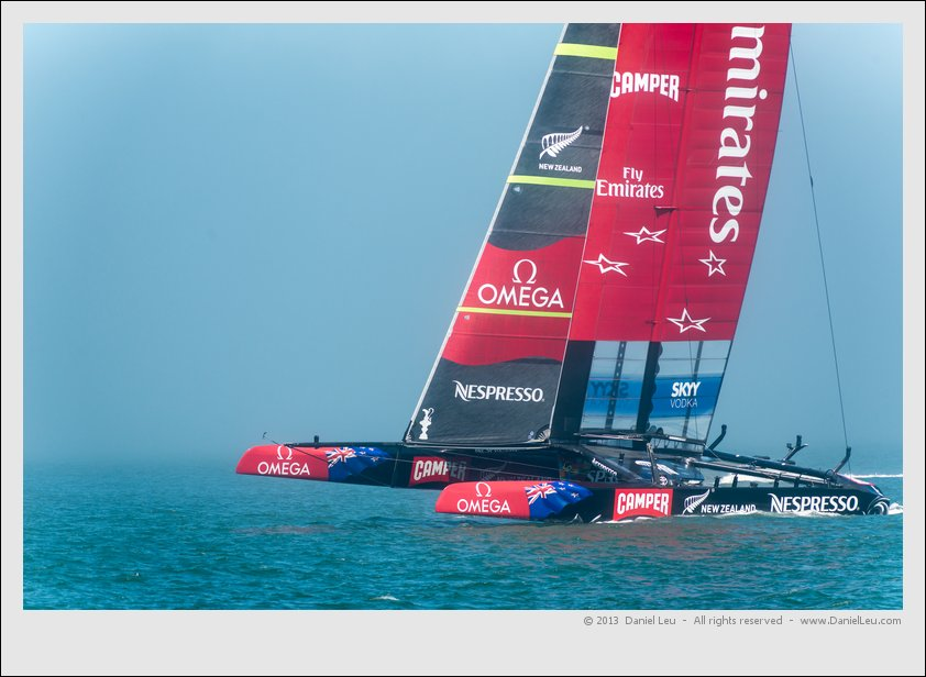 Team Emirates New Zealand heading up to the start line.
