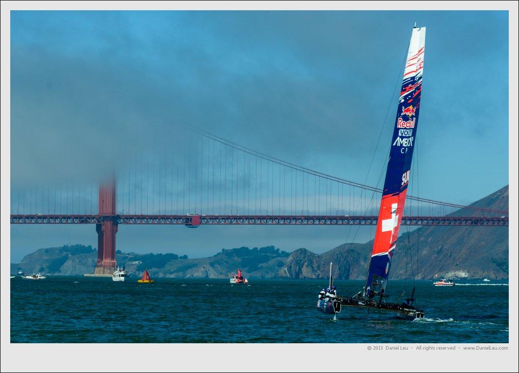 Switzerland's Team Tilt approaching Golden Gate Bridge