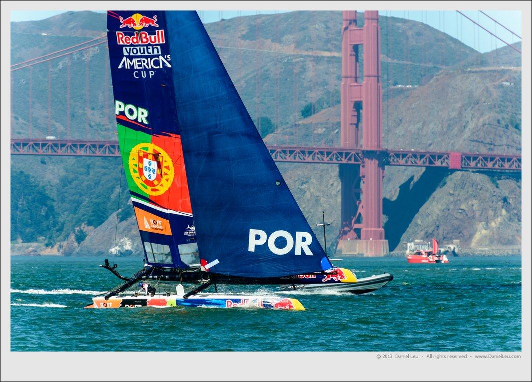 Portugal's  ROFF/Cascais Sailing Team with Golden Gate Bridge