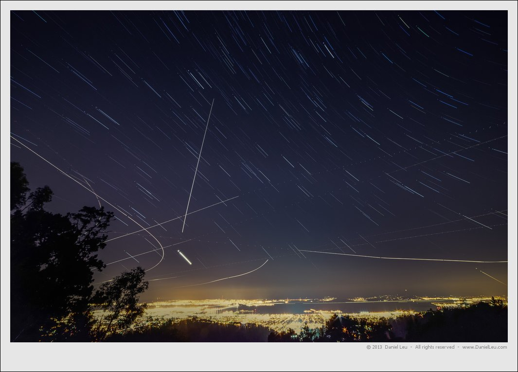 Star shower over San Francisco bay