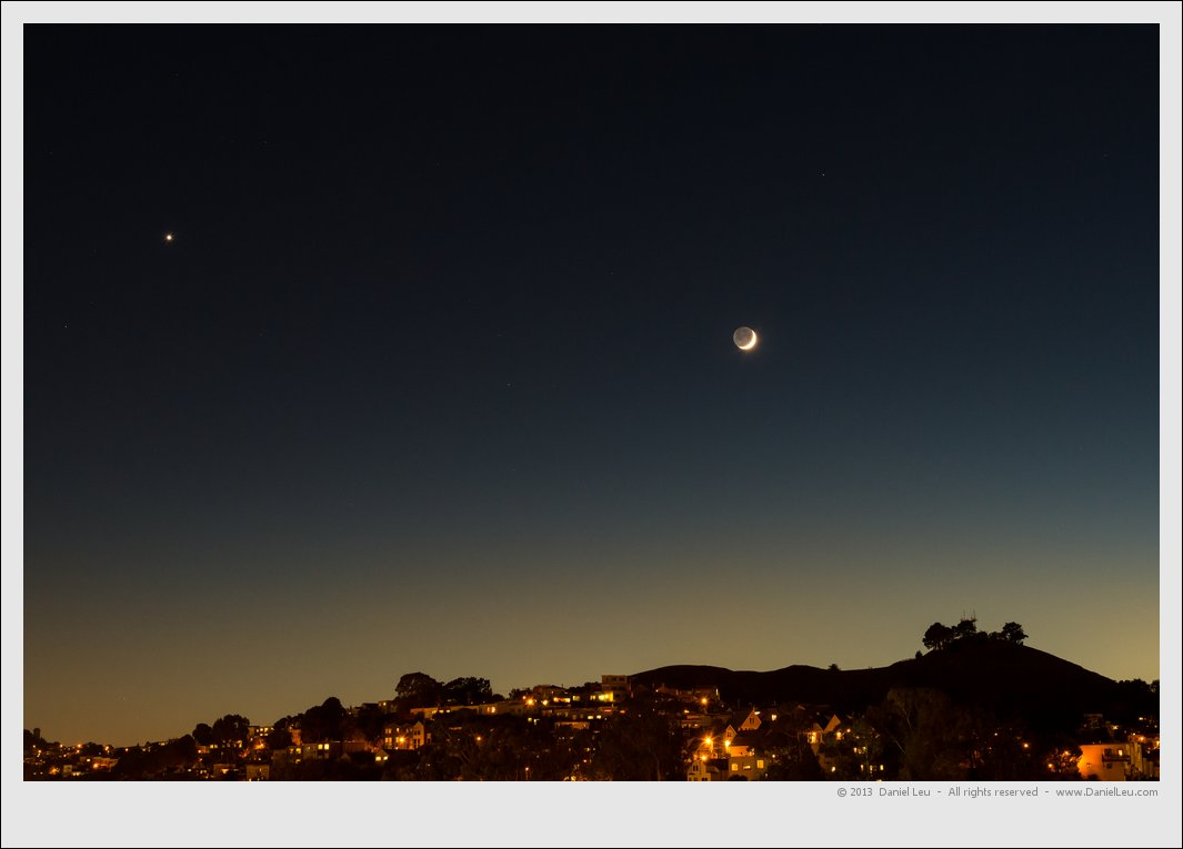 Crescent Moon with Venus over Bernal Heights