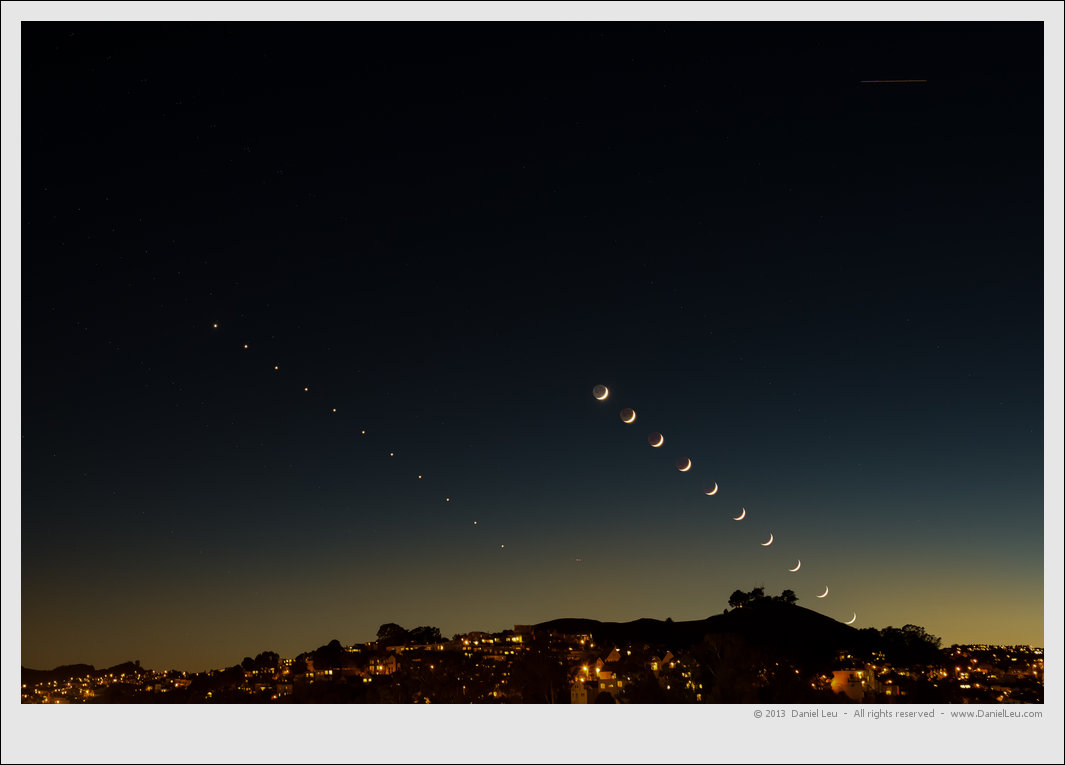 Crescent Moon with Venus Sequence over Bernal Heights