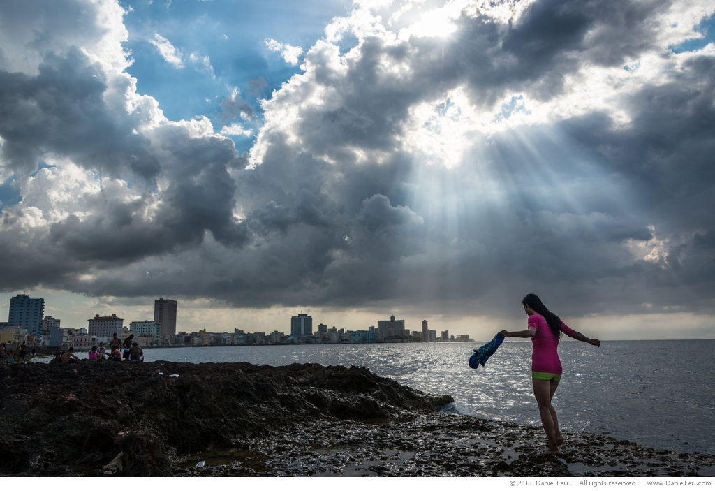 Malecón with Sunrays and Girl, Cuba