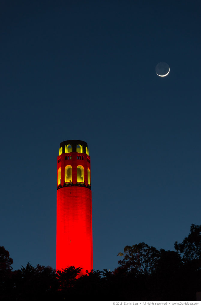 Red Coit Tower with Moon Crescent