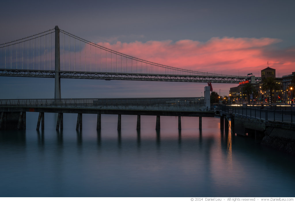 Bay Bridge with Pier at Sunset