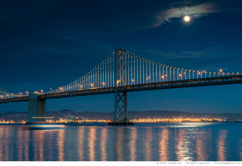 Bay Bridge and Full Moon with Reflection