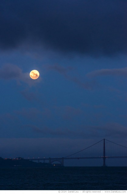 Full Moon over Golden Gate Bridge at Dawn