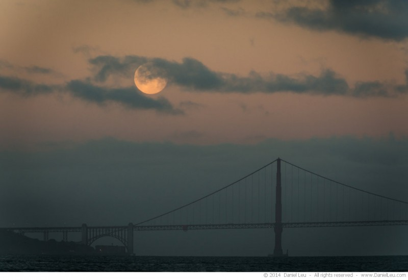 Full Moon over Golden Gate Bridge with glowing Sky