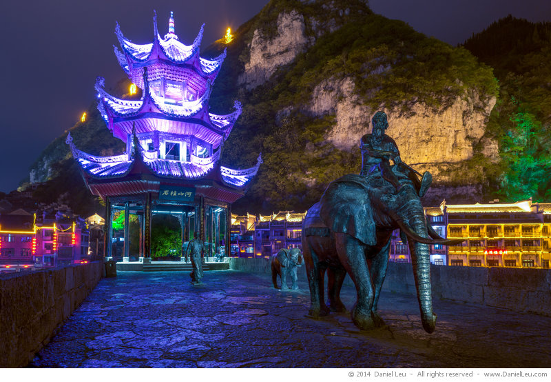 Light painted elephants with Zhusheng Qiao pavilion