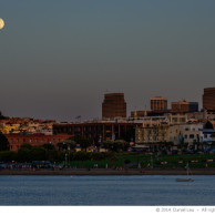 Moonrise over Aquatic Park with Coit Tower and Transamerica