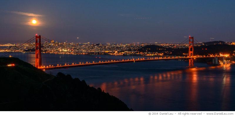 Full Moon Over Golden Gate Bridge Daniel Leu Photography
