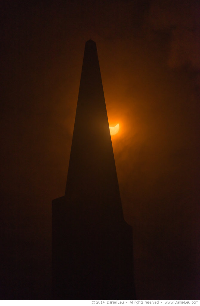 Transamerica Tower with Partially Eclipsed Sun