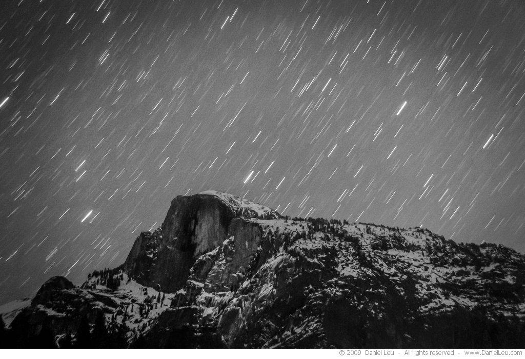 Half Dome under starry sky