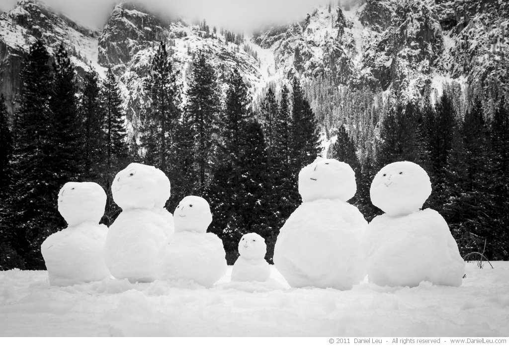 Snowmen on El Capitan meadows