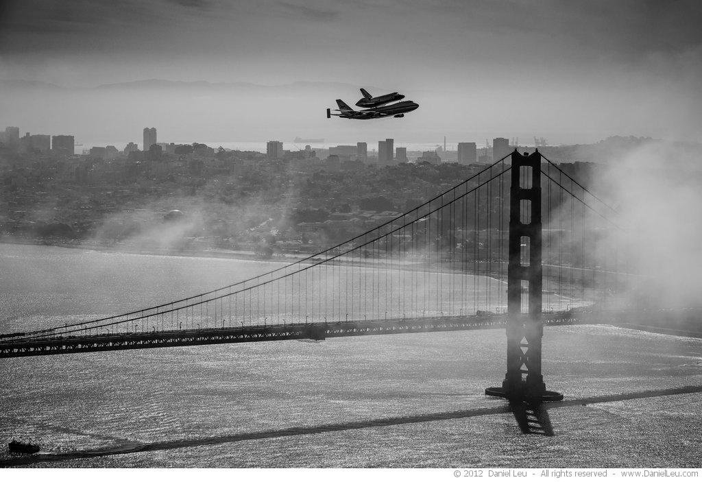 Space Shuttle Endeavour over SF with Golden Gate Bridge