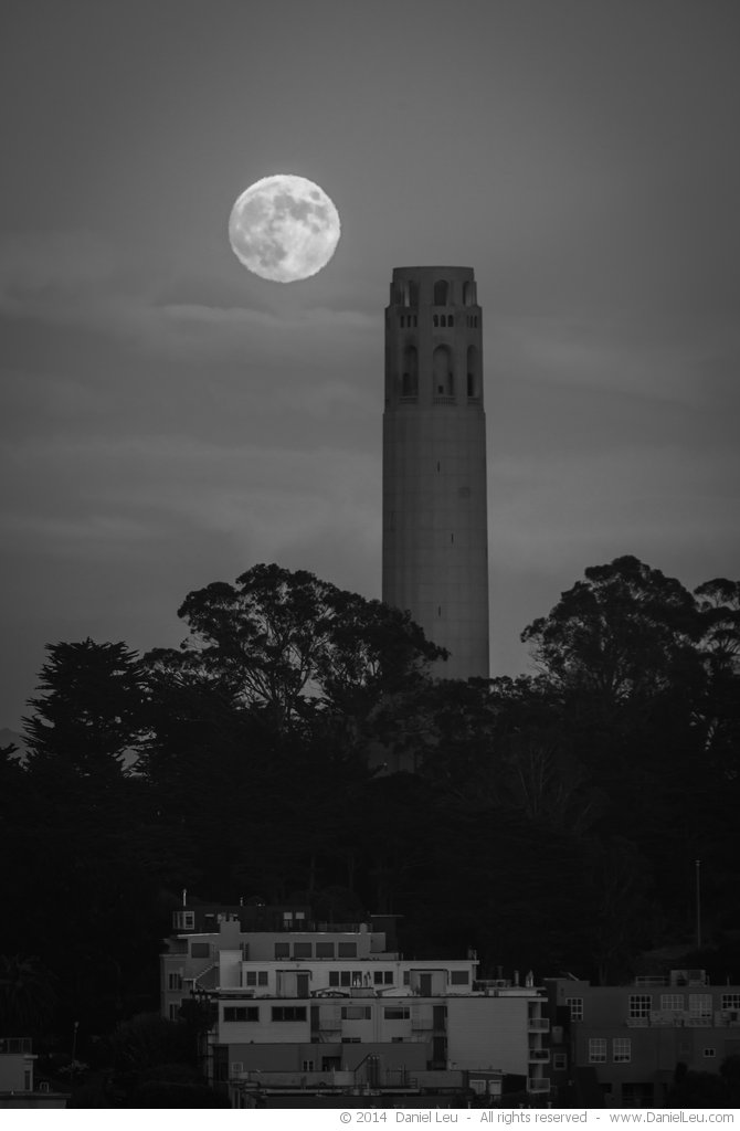 Coit Tower with Full Moon