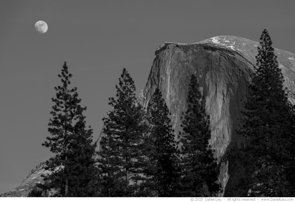 Half dome with rising moon