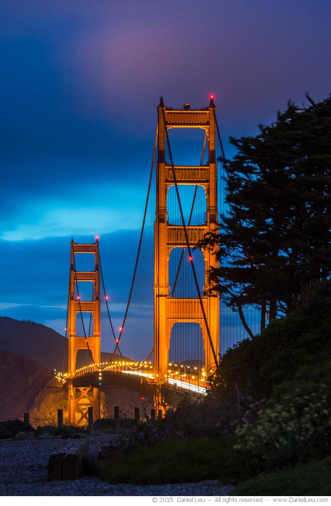 Golden Gate Bridge with Illuminated Clouds