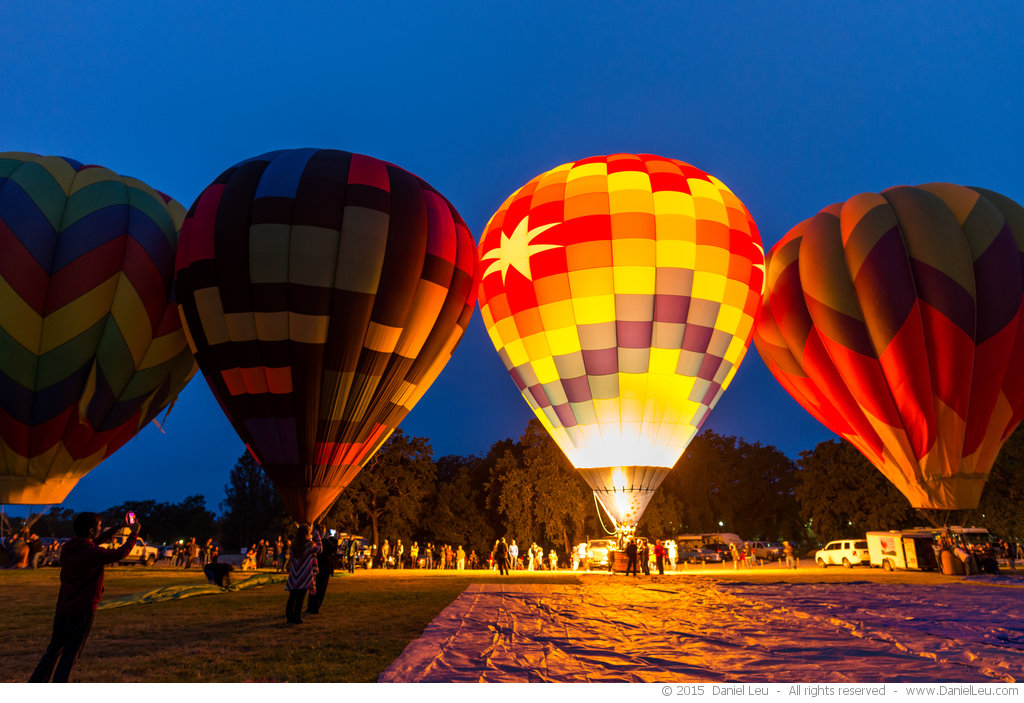 Hot Air Balloon light show at dawn
