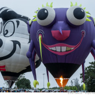 Specialty hot air ballons: Spunky the Skunk and Purple People Ea