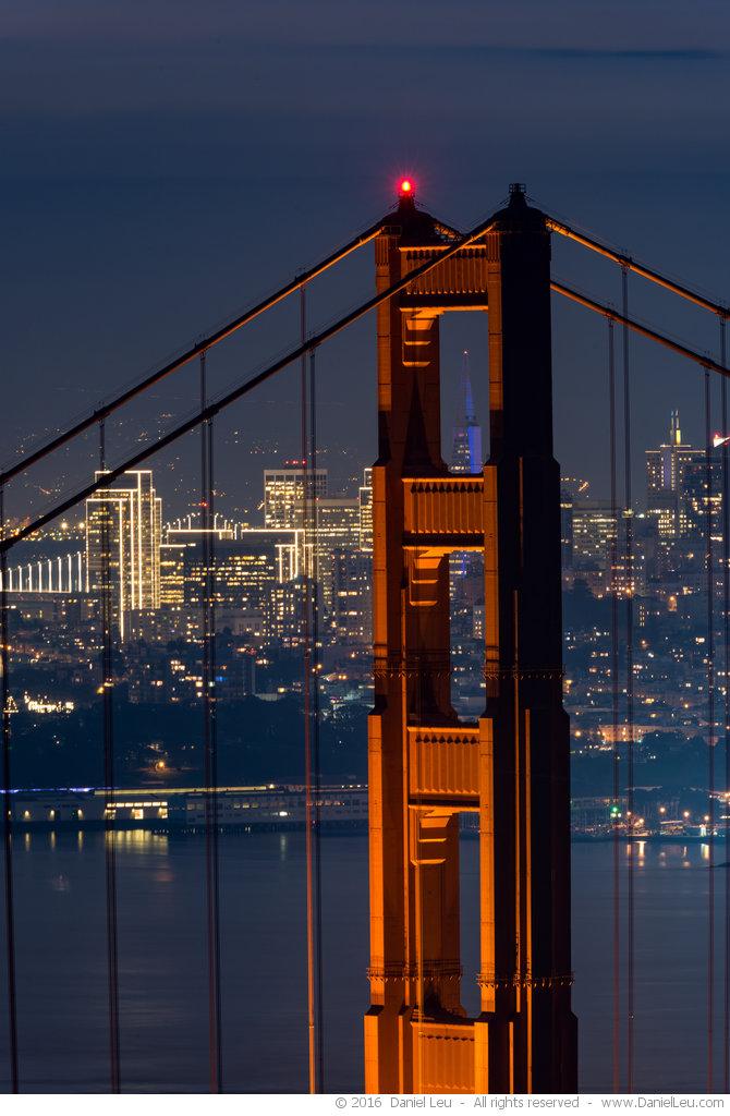Golden Gate Bridge frames Transamerica