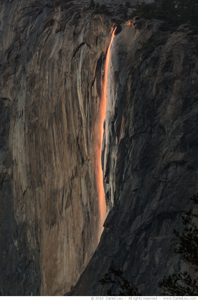 Last glow on Horsetail Fall