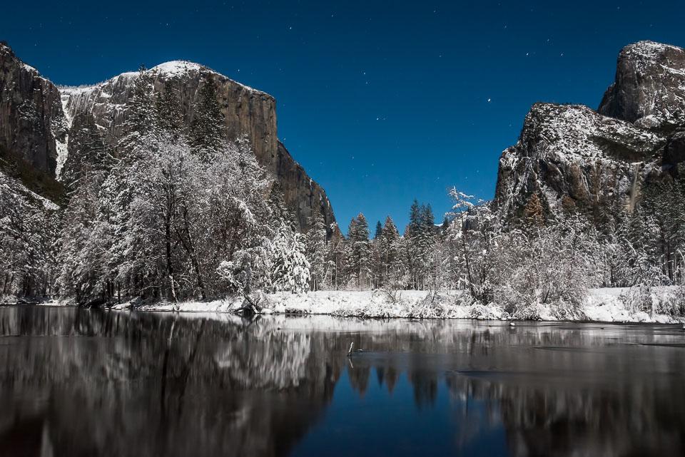 Valley View Winter Wonderland at Night