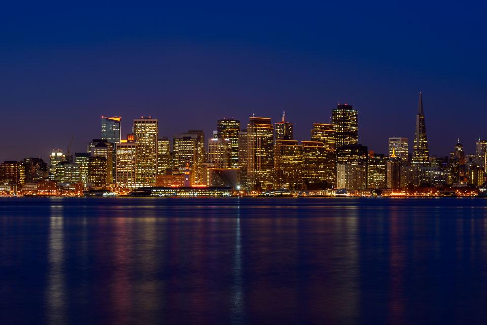 SF Skyline with Holiday Lights