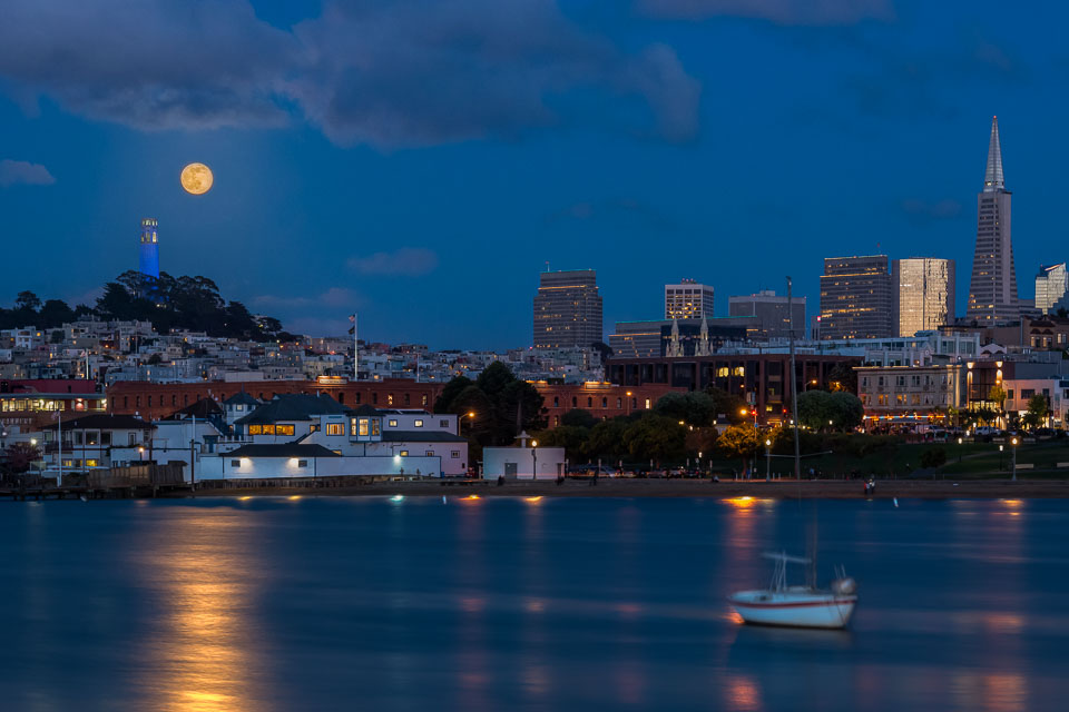 Aquatic Park with Coit Tower and rising Full Moon