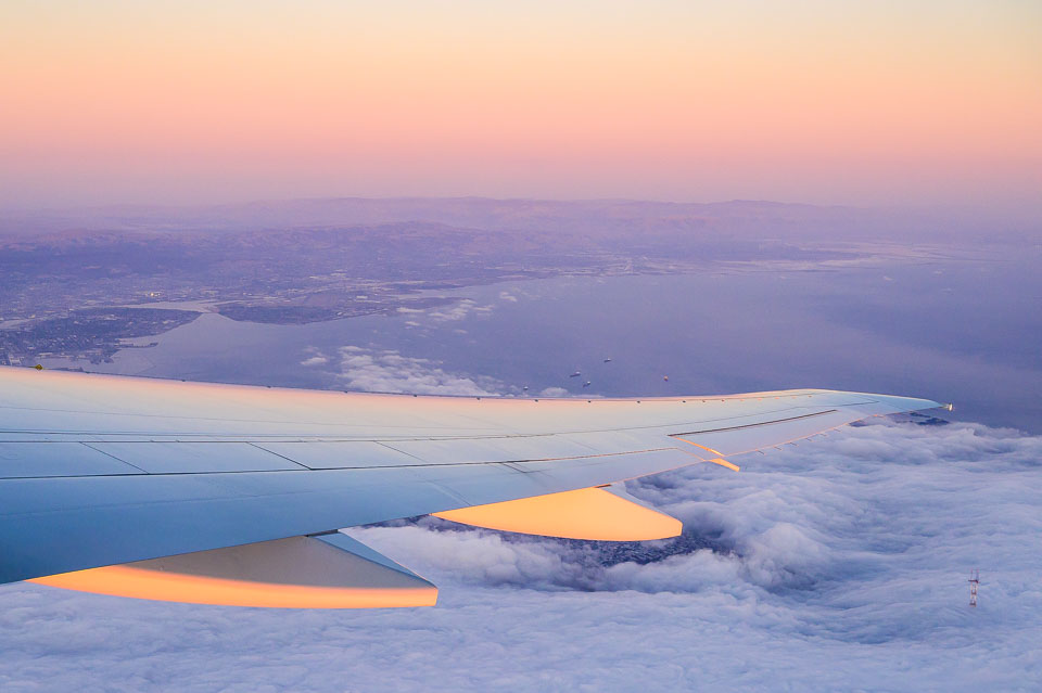 Airplane wing at sunset #1