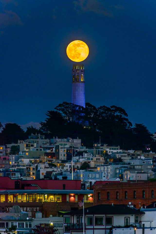 Coit Tower topped by Full Moon