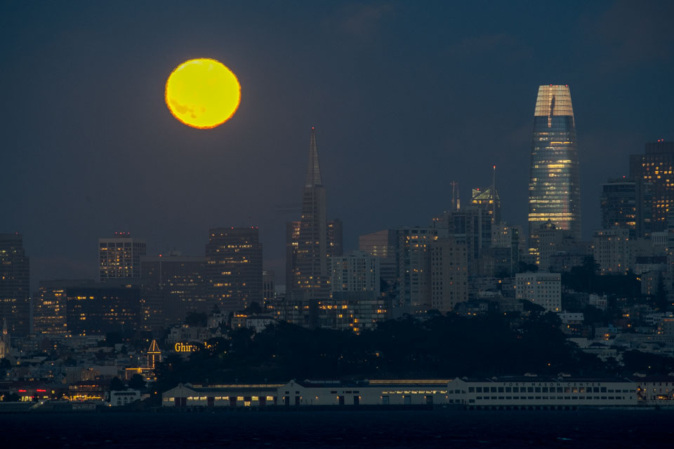 Salesforce Tower with Full Moon