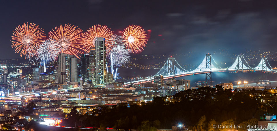 San Francisco Fireworks with Bay Lights