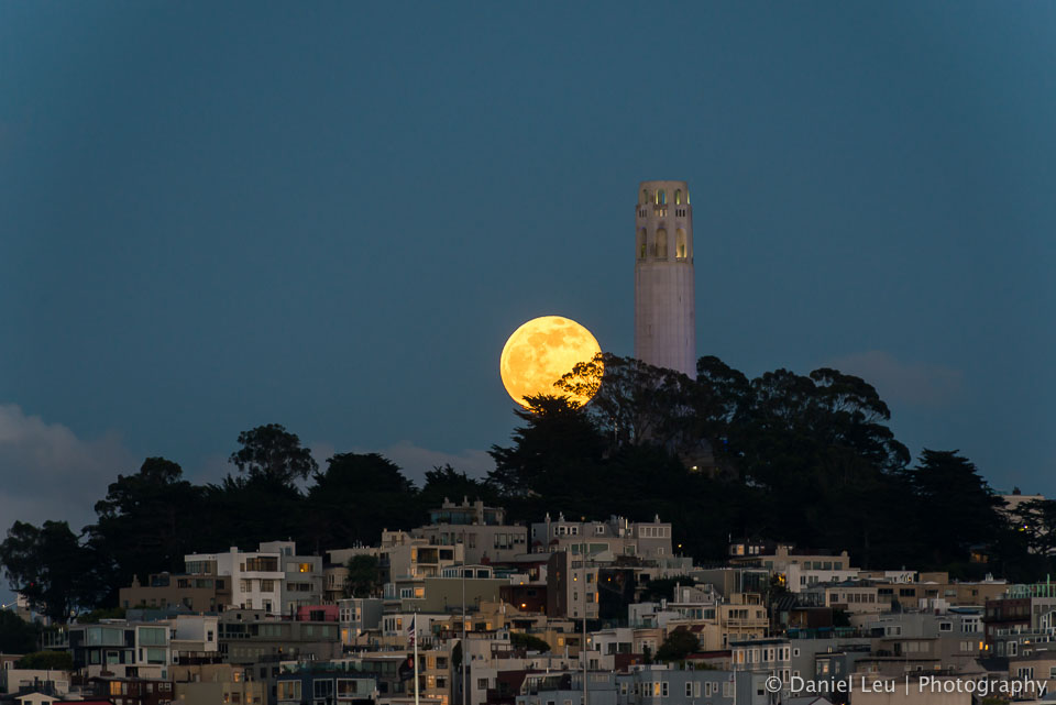 Rising Full Moon and Coit Tower I